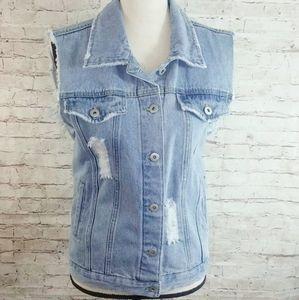 Distressed Denim Jean Jacket Festival Vest
